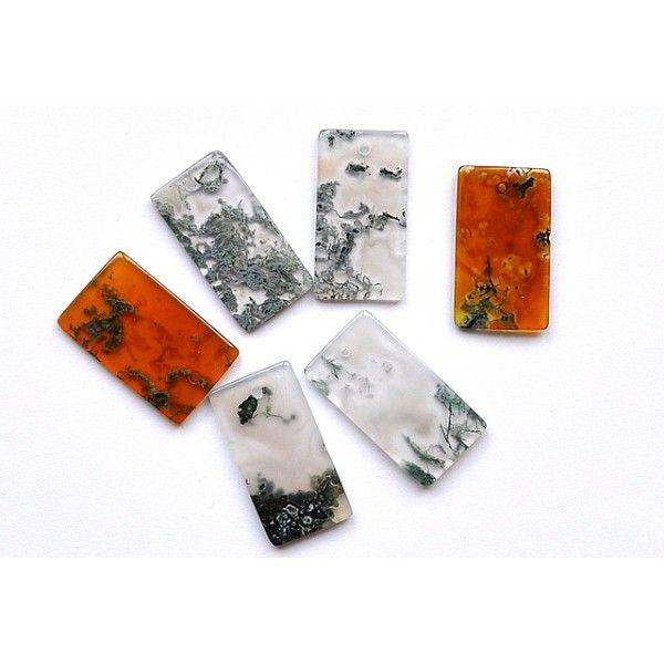 Moss agate , orange/green, 28x15mm rectangle de SophiesShine Breslo