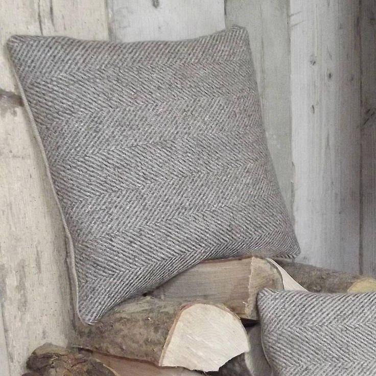 ' Natural Herringbone Tweed and Linen ' Cushion