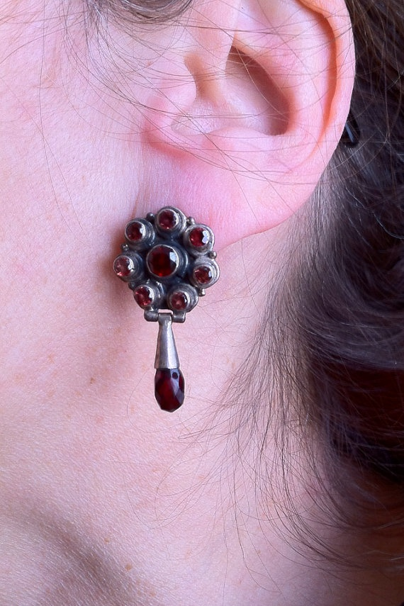 ## SOLD## Drop earrings with sterling silver and garnets by BijouxaLaCarte. ~ SOLD~