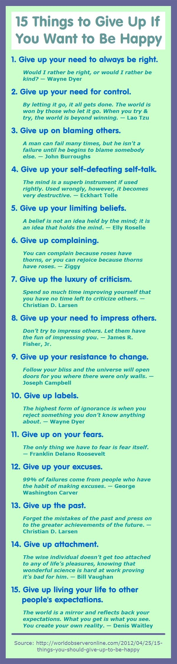 15 Things to give up to be happy :)