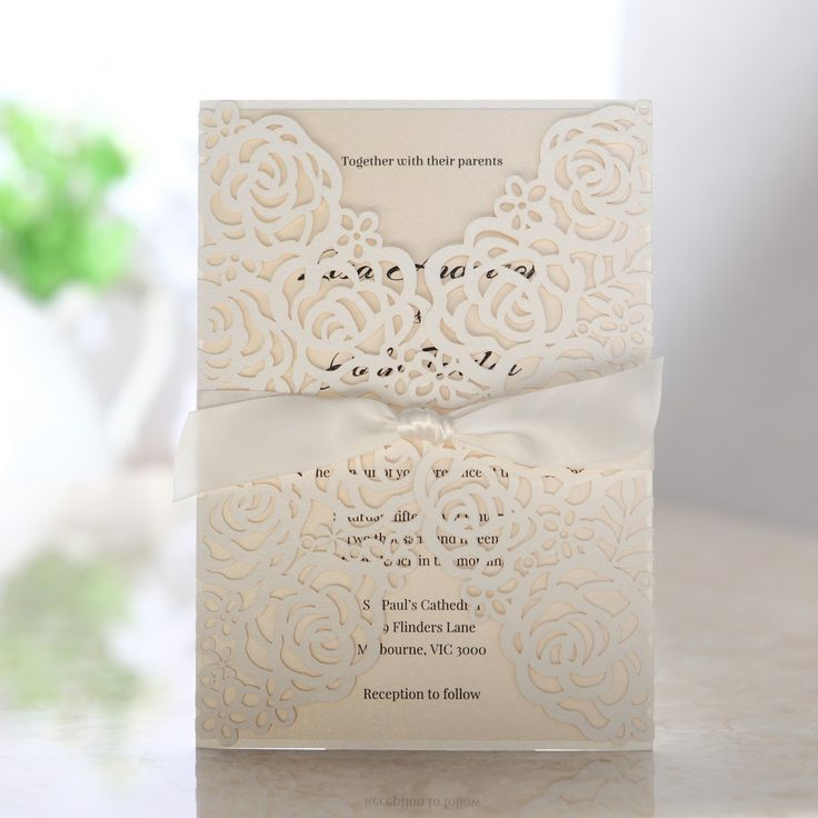 lace wedding invitation wrap%0A Rose Pattern Laser Cut Wedding Invitations