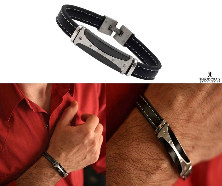 Ανδρικό βραχιόλι από ανοξείδωτο ατσάλι και δέρμα -    Men`s Stainless Steel and Leather ID Bracelet