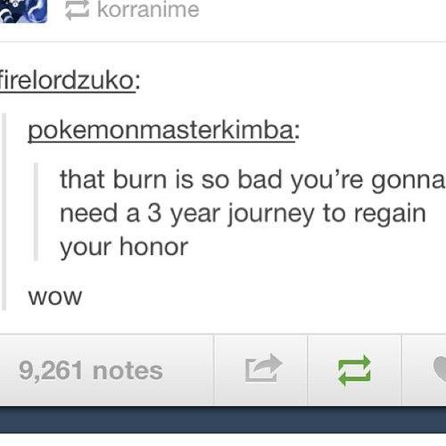 Avatar.. Aww Zuko burned!