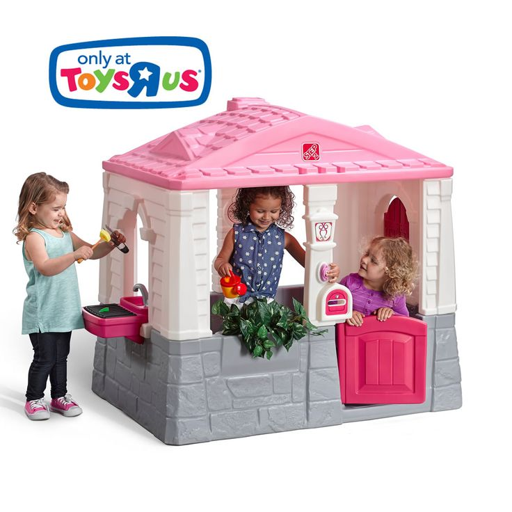 Step2's Happy Home Cottage & Grill Pink playhouse features an open design, working dutch door, a kitchen table and more!  View & shop this playhouse now.