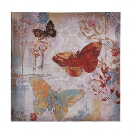 <p>This canvas print perfectly captures the magic of colorful butterflies in flight. The background features muted designs of flowers and more as the artistically rendered butterflies frolic by.</p>