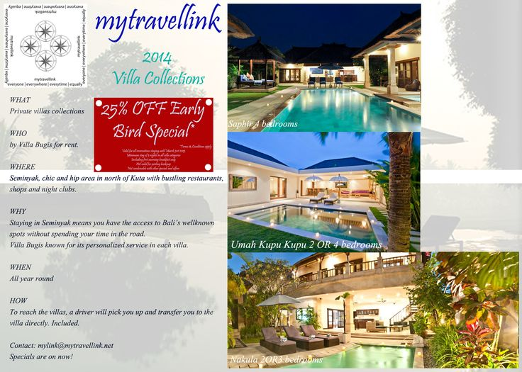 25% Early Bird Special for 2 up to 6 bedroom villas to rent in quite and secluded central Seminyak, Bali  Contact: mylink@mytravellink.net for further details and reservations
