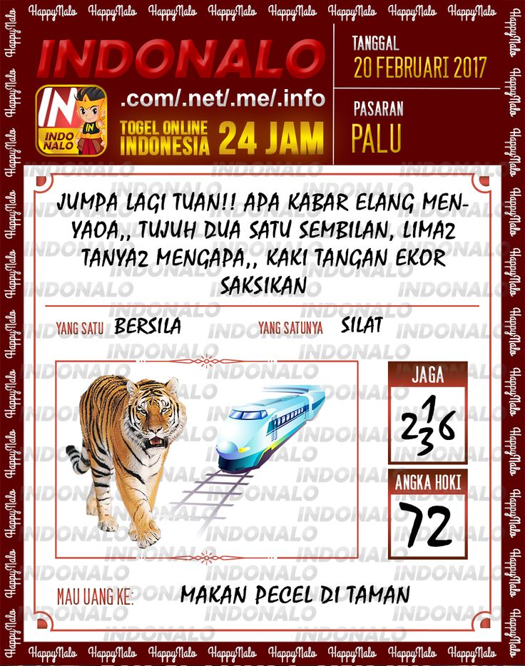 Taysen Hoki 4D Togel Wap Online Live Draw 4D Indonalo Palu 20 Febuari 2017