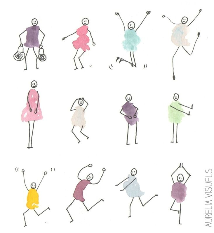 petits bonhommes- aquarelle stylo  #AureliaVisuels
