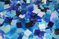 """100 1/2"""" Blue Mix Stained Glass Mosaic Tiles"""