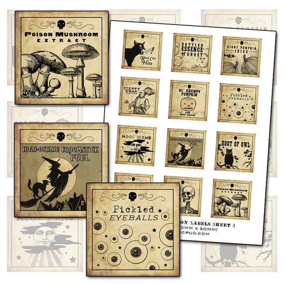 Antique Halloween Potion Labels I 2x2 inch digital collage sheet inchies 50mm square witch owl poison mushroom black cat pumpkin witches