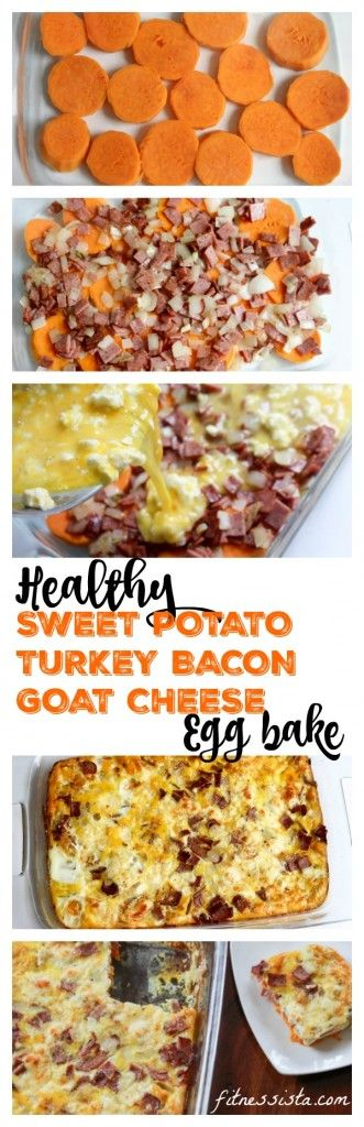Sweet potato, goat cheese and turkey bacon egg bake (goat cheese)