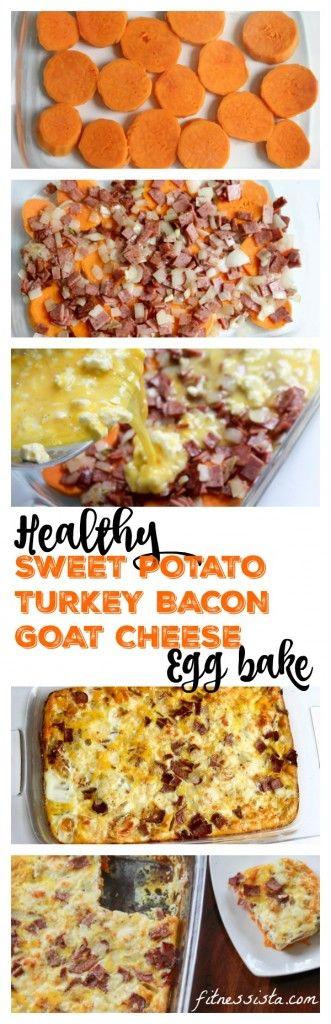 Sweet potato, goat cheese and turkey bacon egg bake