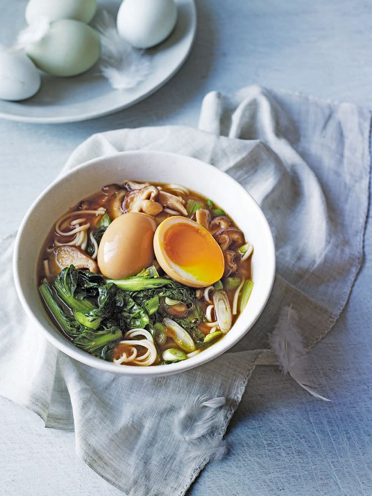 This Japanese egg and shiitake soup recipe packs a punch with earthy shiitake mushrooms and fresh Asian greens.