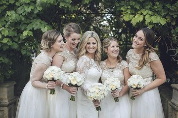 Long Sleeve Lace Wedding Dress by Samantha Wynne Photography by Jen Regan Lace Bridesmaid dresses by Chi Chi London