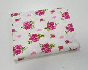 Jersey, dzianina - różowe róże na ecru