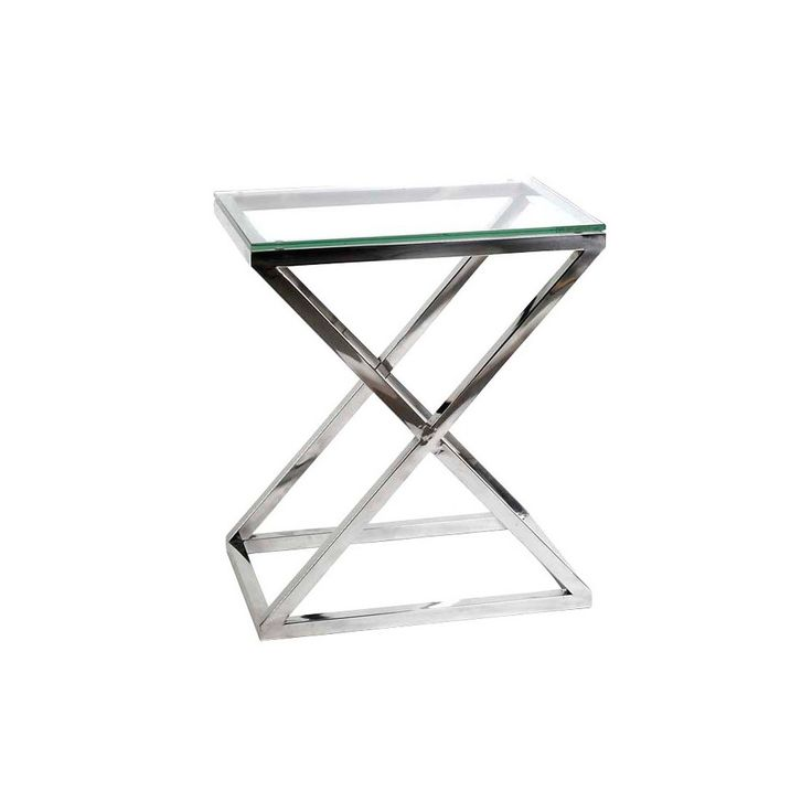 Eichholtz+Criss-Cross+Side+Table+-+High+-+Cross+style+off+the+list+with+a+Criss+Cross+High+Side+Table. From+Eichholtz,+the+stunning+side+table+features+a+stainless+steel+body+with+criss-cross+legs+that+join+at+the+bottom+and+is+finished+with+a+flat+glass+panel+that+sits+atop+the+base. Exuding+elegance,+sophistication+and+subtle+undertones+of+refinement,+the+table+will+enhance+its+surroundings+and+bring+a+new+perspective+to+the+room. This+piece+will+make+a+great+addition+to+the+living+area...