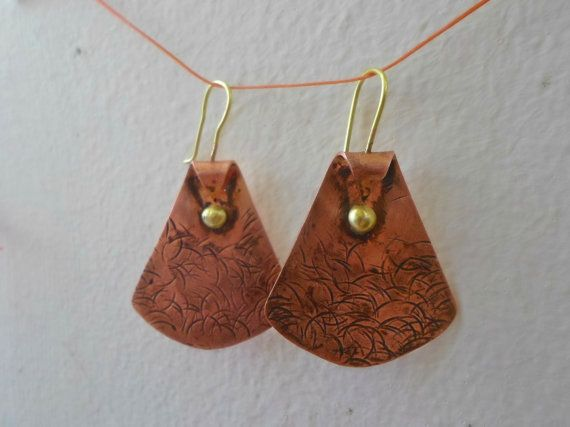 Hammered copper earrings Mixed Metal Jewelry Copper by AbyCraft
