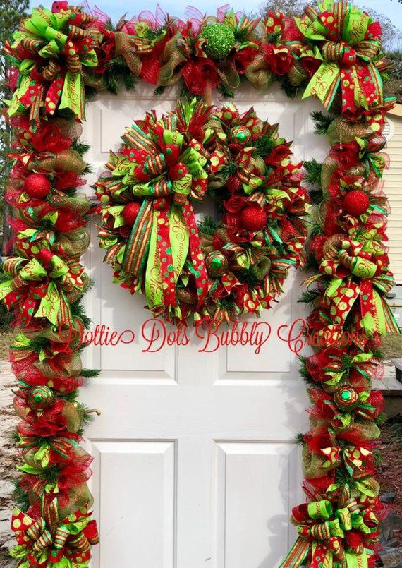 Whimsical Red Lime Wreath Garland Combo Wreath Garland Combo Christmas Wreath This Is A Whimsical Christmas Garland Diy Christmas Garland Christmas Wreaths
