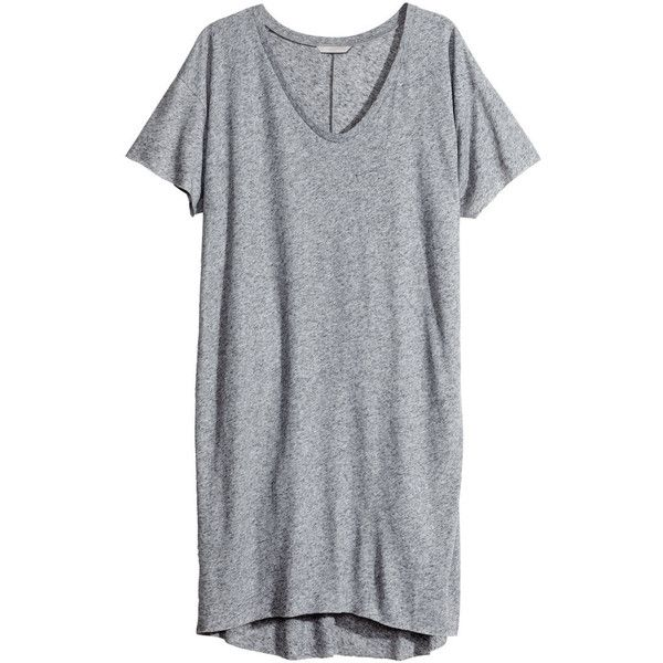 H&M+ Jersey dress ($7.59) ❤ liked on Polyvore featuring dresses, tops, shirts, robes, grey, plus size, plus size sleeve dresses, jersey knit dress, h&m and grey jersey dress