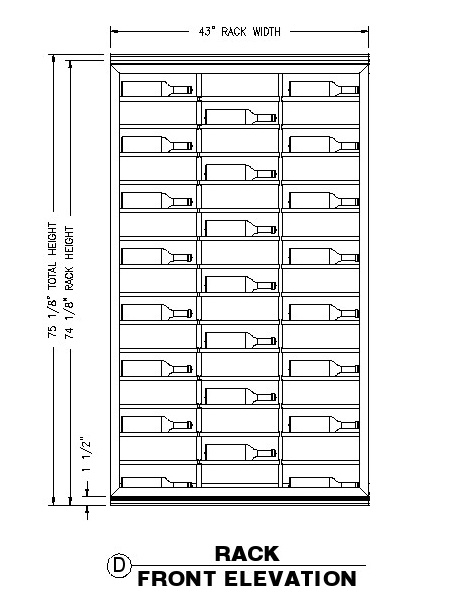 A wine racking system with horizontal display feature that allows the owner to showcase their finest wine labels.