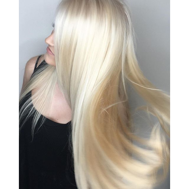 This pale blonde by stylist Demi practically shimmers in the light with its mix of buttery blonde and platinum.