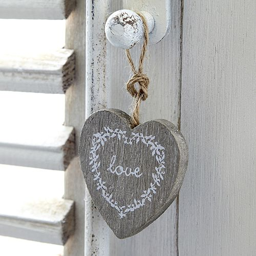 Natural Wooden Heart Decoration With Painted Love