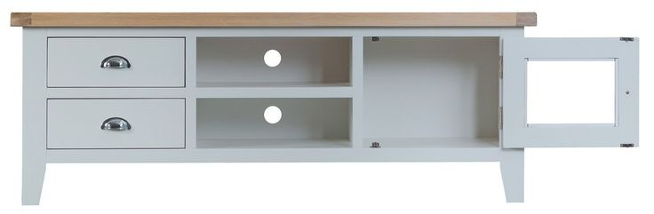 Bonsoni Tulsa Grey Large TV Unit by Kaldors  This collection can be supplied with aged brass effect handles as an optional extra.  https://www.bonsoni.com/tulsa-grey-large-tv-unit-by-kaldors