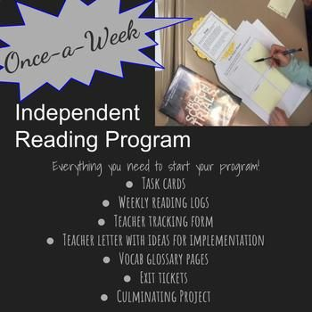 This once-a-week check in reading program can be used alongside your regular curriculum.  Students read independently outside of school for 20 minutes a night all week, and teachers check in on Fridays--simple as that! This bundle includes everything you need to kick off a meaningful program that holds students accountable and gets them excited about reading: - Student packet with reading logs, project ideas, and exit tickets- Teacher letter with directions for implementation- Task cards for…