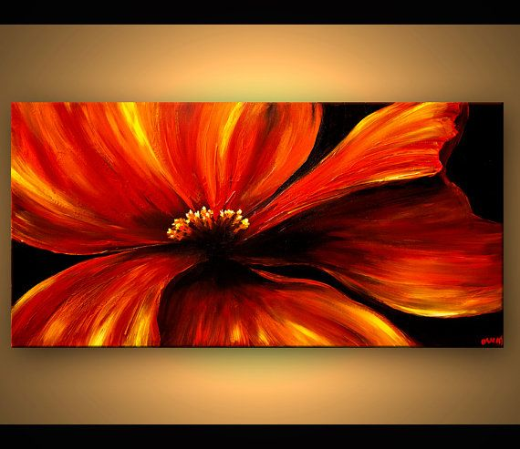 ORIGINAL Abstract Floral Painting Contemporary by OsnatFineArt, $450.00 #buyart…