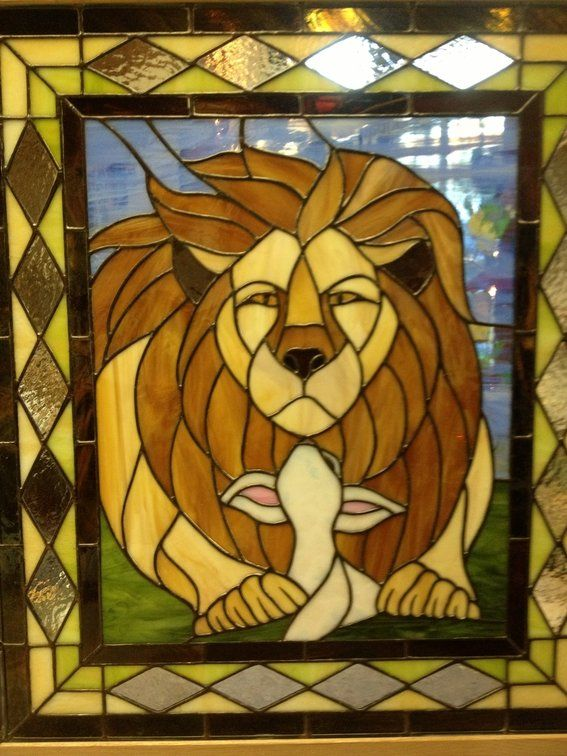 """Custom Made """"The Lion Shall Lie Down With The Lamb"""" Stained Glass Panel"""