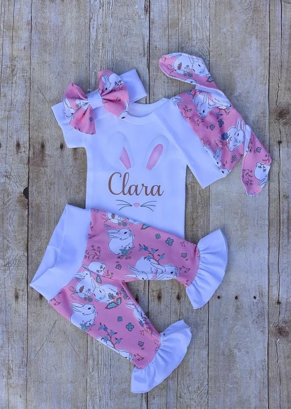 Baby Girl Personalized Easter Ruffle Outfit Vintage Bunny