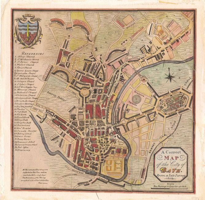 """""""A Correct Map of The City of Bath from a late Survey dated 1812"""" Nicely keyed with no less than 35 places of importance ranging from churches, chapels, hot baths through to the dispensary and the post office."""