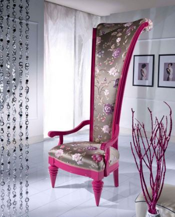 Swept Head Upholstered Statement Throne Chair