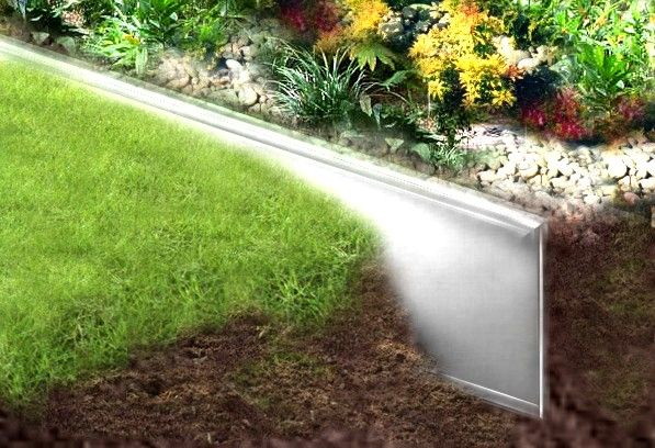 Metal Lawn Edging with blunt top -- not as sharp, safer for children and pets.