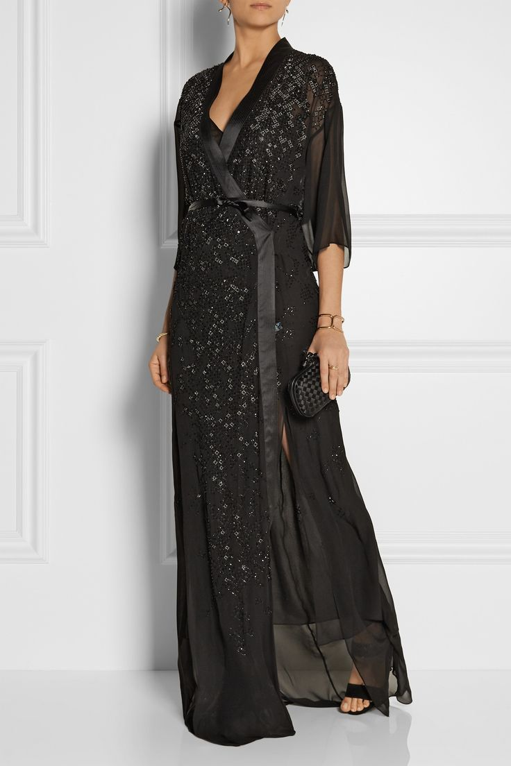 Idee decoration salon sous sol roberto cavalli embellished wrap effect silk chiffon gown €5965 00 http