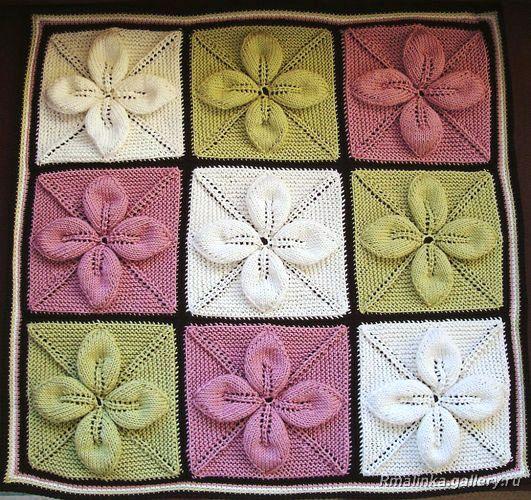 Плед из квадратов с листочками (Вязание спицами)   Журнал Вдохновение Рукодельницы