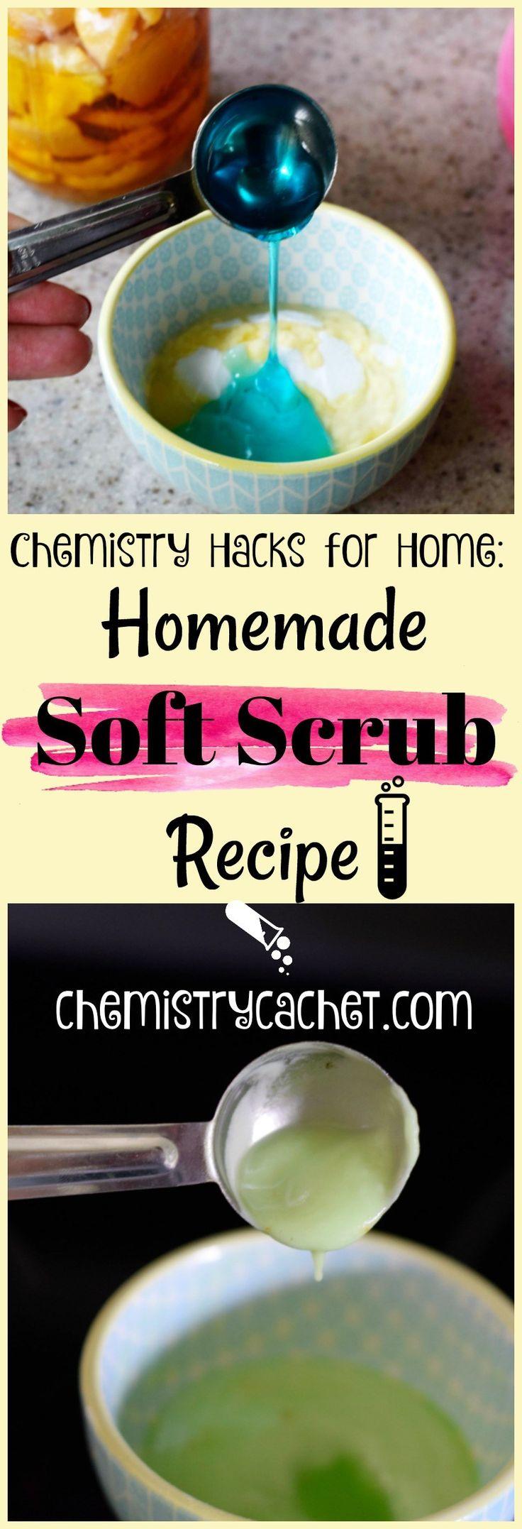 Chemistry Hacks for the Home Homemade Soft Scrub Recipe.  Muy efectivo para la limpieza y mejor que el comprado en la tienda en chemistrycachet.com