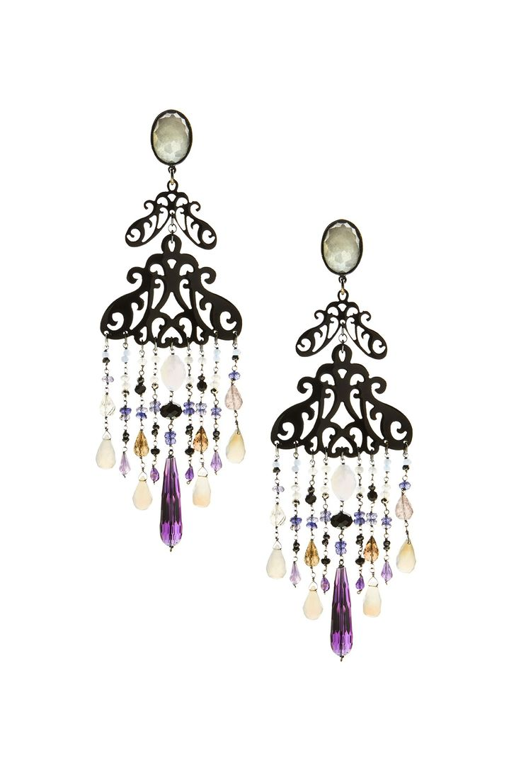 Earrings made of sterling silver 925 and natural horn with amethyst and quartz stones