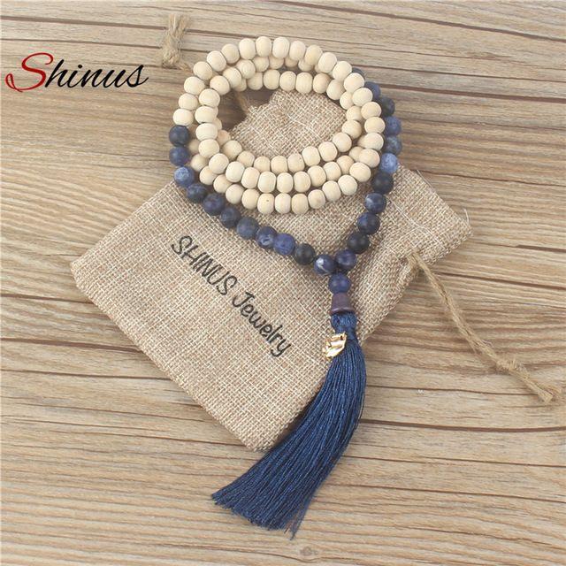 Shinus заявление макси длинные ожерелья женщины ожерелье кисточкой старинные день матери ювелирные изделия воротник мала натуральный камень деревянные бусины