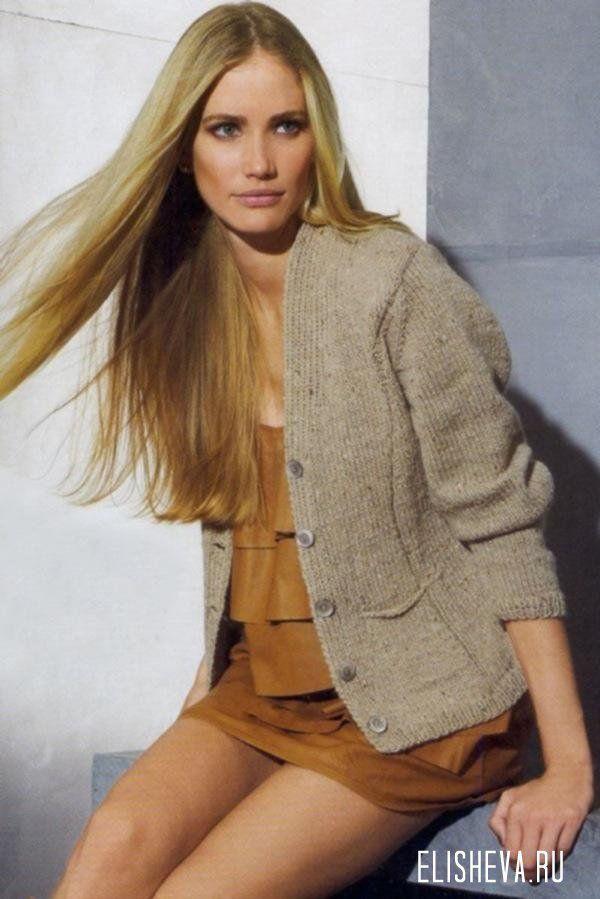 Приталенный жакет-пиджак повседневно-делового стиля, вязаный спицами | Блог elisheva.ru