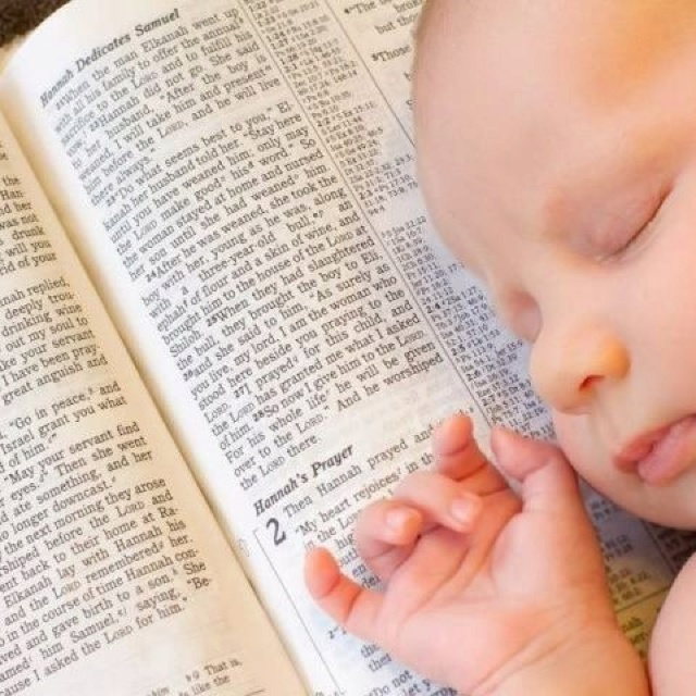 Baby on Bible - 1Samuel 1:27 For this child I prayed; and the LORD hath given me my petition which I asked of him: