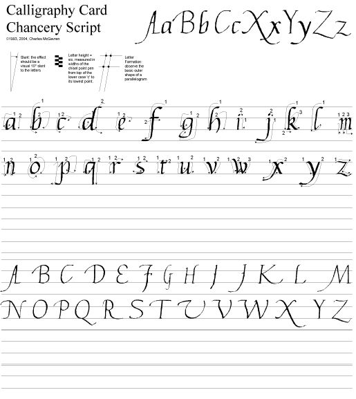 Calligraphy Complete Upper And Lower Case Chancery