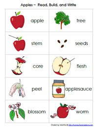 Apple Word Cards - these go along with the Read, Build, Write Vocabulary Mats.