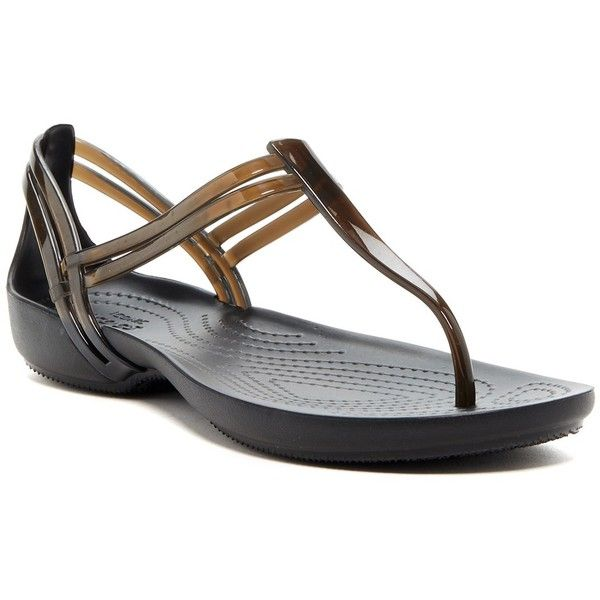 Crocs Isabella T-Strap Sandal (Women) (€17) ❤ liked on Polyvore featuring shoes, sandals, blk, strap shoes, t strap sandals, t strap shoes, crocs sandals and jelly t strap sandals