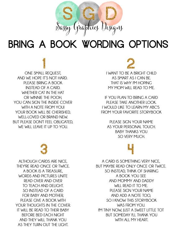 Matching Insert Card Bring A Book Instead by SassyGraphicsDesigns