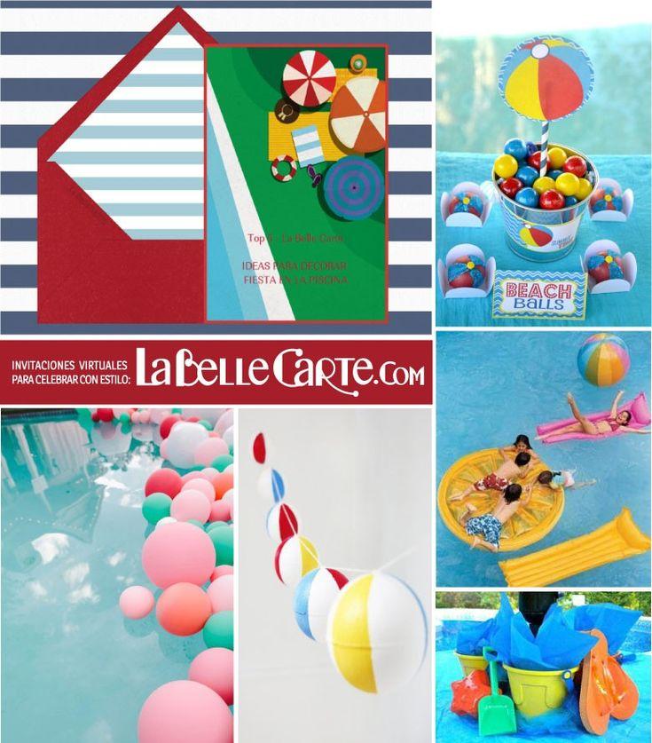 Invitaciones de cumplea os fiesta en la piscina ideas for Ideas para decorar piscinas