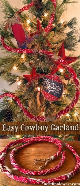 DIY Western Cowboy bandana Christmas tree garland from North Pole West - This garland would be cute with denim ribbon to make a 4th of July wreath too