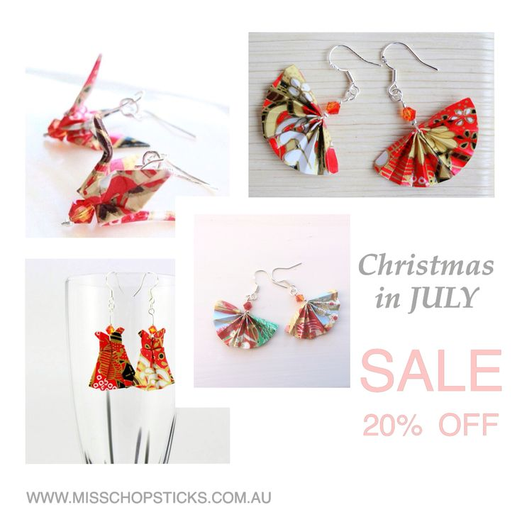 Christmas in July SALE is now on! 20% OFF our Red Origami Jewellery selections. Sale ends 31st of July.  Hover over to: www.misschopsticks.com.au/christmas-in-july-sale.html  Limited time available.