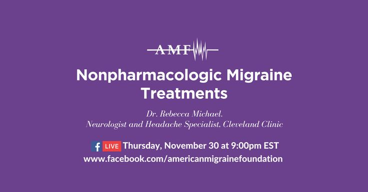 Learn more about nonpharmacologic migraine treatment options with Dr. Rebecca Michael, a neurologist and headache specialist at the Cleveland Clinic. She'll be discussing biofeedback and cognitive behavioral therapy on the American Migraine Foundation Facebook page on Thursday, Nov. 30 at 9:00pm EST. Comment on this post with questions or issues you'd like her to address, or ask them live on Thursday.
