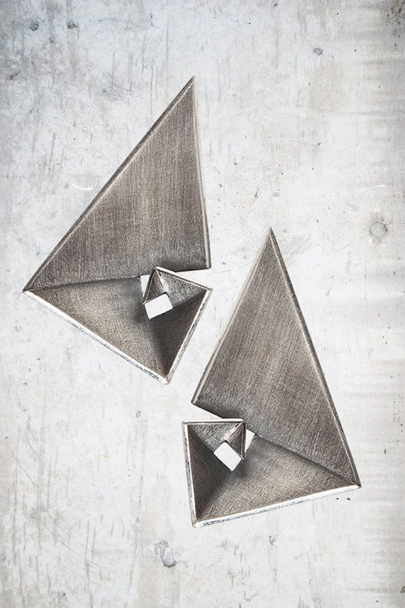 Geometric Earrings Statement Earrings Golden Ratio by Vangloria #goldenratio #jewelrydesign #contemporaryjewelry #mathjewelry